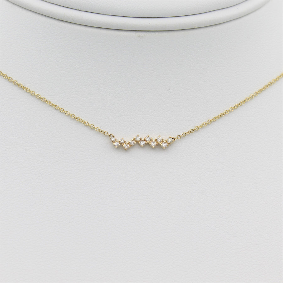 14k Yellow Gold Zig-Zag Diamond Bar Pendant.