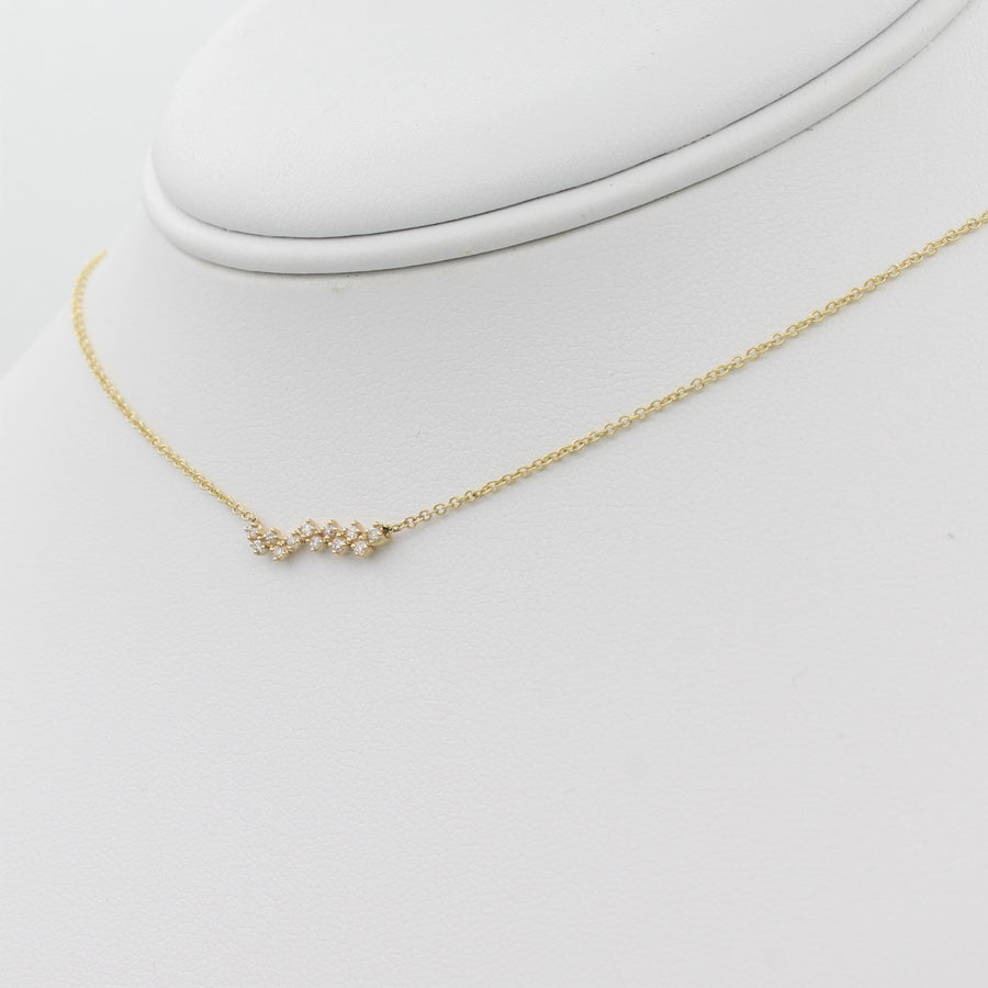 14k Yellow Gold Zig-Zag Diamond Bar Pendant, right angle view of necklace displayed on a mannequin.