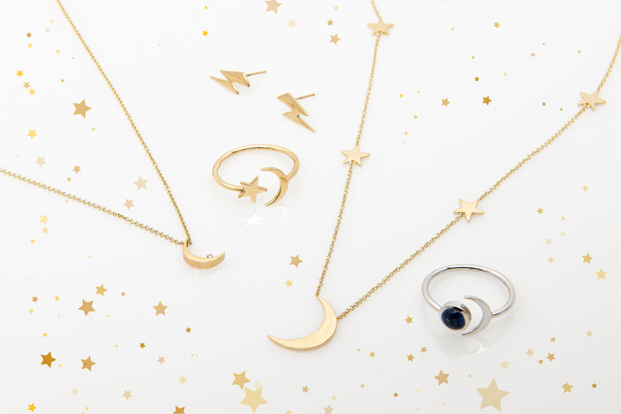 A preview of Starflower Jewelry's celestial collection, including 14k Yellow Gold Shoot for the Moon Station Necklace.