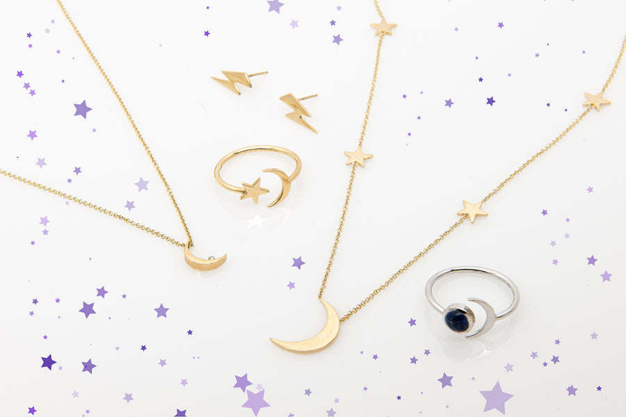 A preview of Starflower Jewelry's celestial collection, including 14k Yellow Gold Striking Lightening Bolt Earrings