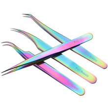 Load image into Gallery viewer, 1pcs Rainbow Tweezers Curved Straight Eyelash Extension Nippers VT202086 - Vettsy