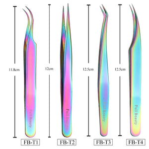 1pcs Rainbow Tweezers Curved Straight Eyelash Extension Nippers VT202086 - Vettsy