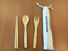 Load image into Gallery viewer, Perfect for a family day, travel the world with our reusable bamboo cutlery set and contribute to a zero waste lifestyle. Bamboo is not only biodegradable but also lasting and water resistant. Choose your own bamboo set today.