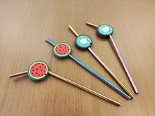 Load image into Gallery viewer, Metal Straw Bent with Fruit Silicon Tip and Cleaning Brush