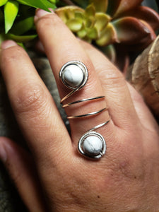 White Howlite Ring
