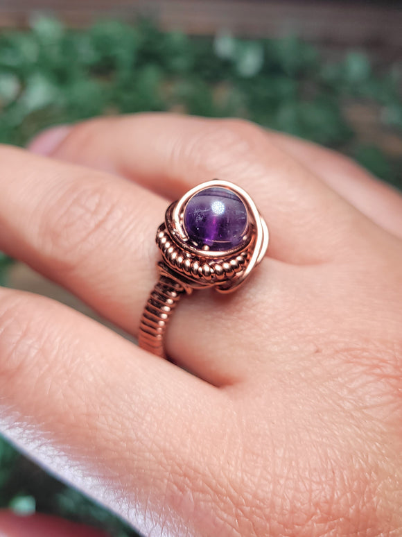 Amethyst Copper Ring