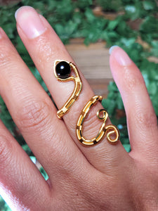 Rainbow Obsidian Snake Ring - Gold