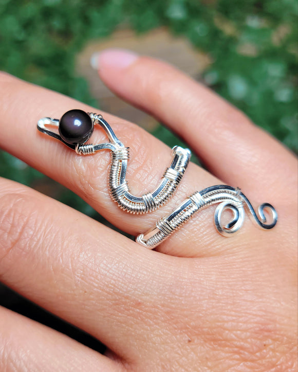 Rainbow Obsidian Snake Ring - Silver