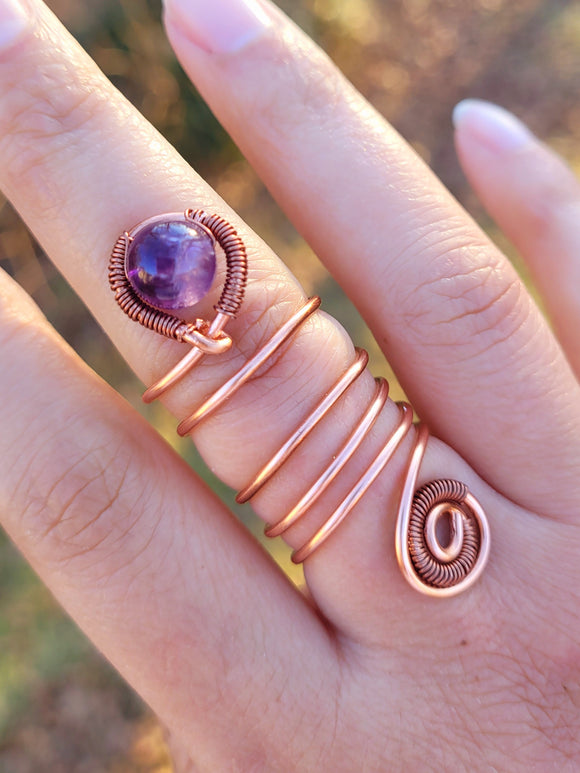Amethyst Copper Ring 3