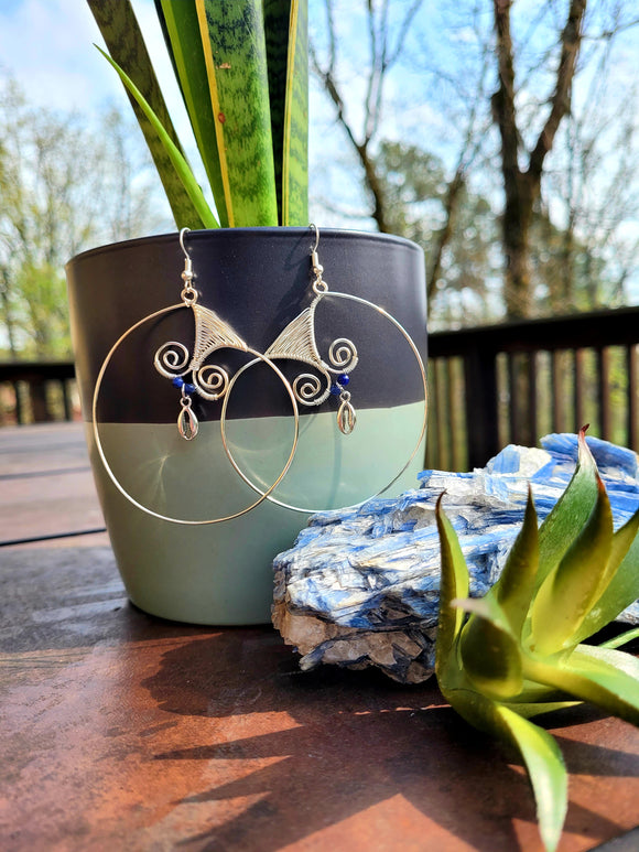 Sodalite Silver Hoop Earrings w/ Cowry Charm
