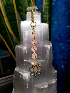 Rose Quartz Keychain - Gold