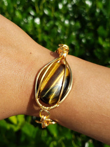 Golden Tigers Eye Bracelet wrapped in gold wire