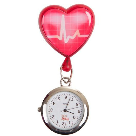 ECG Red Heart Retractable Pull Reel with Watch