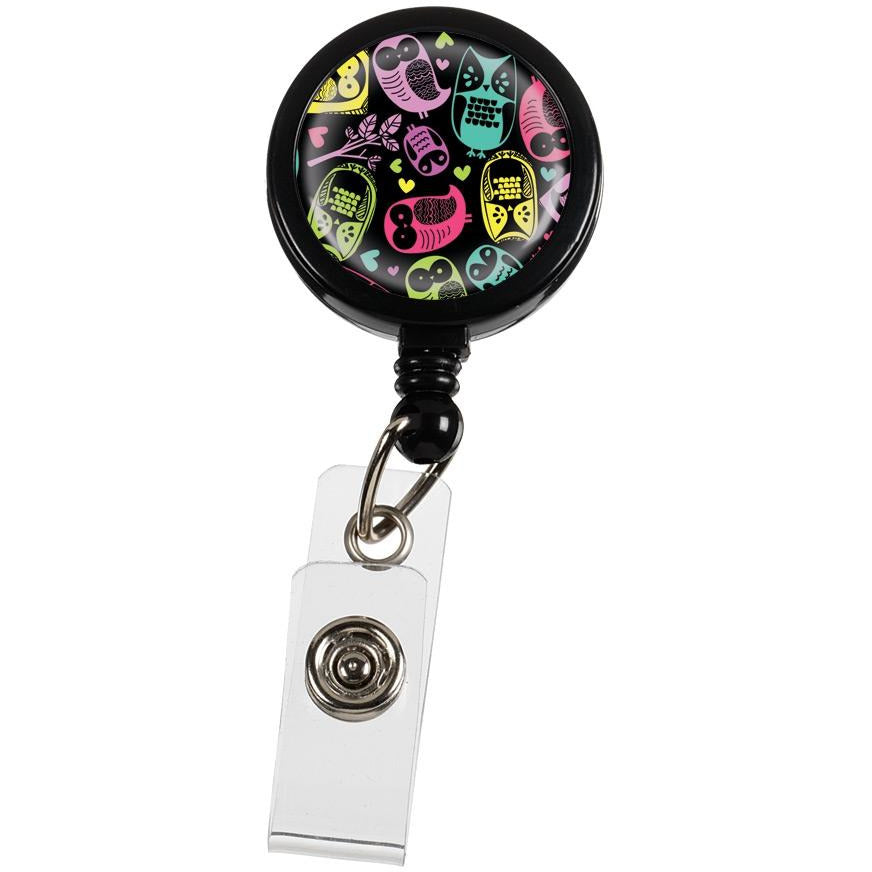 Black Owls Retractable ID Reel Holder