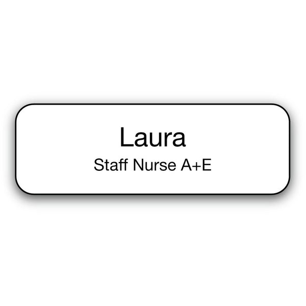 Name Badge - Black on White
