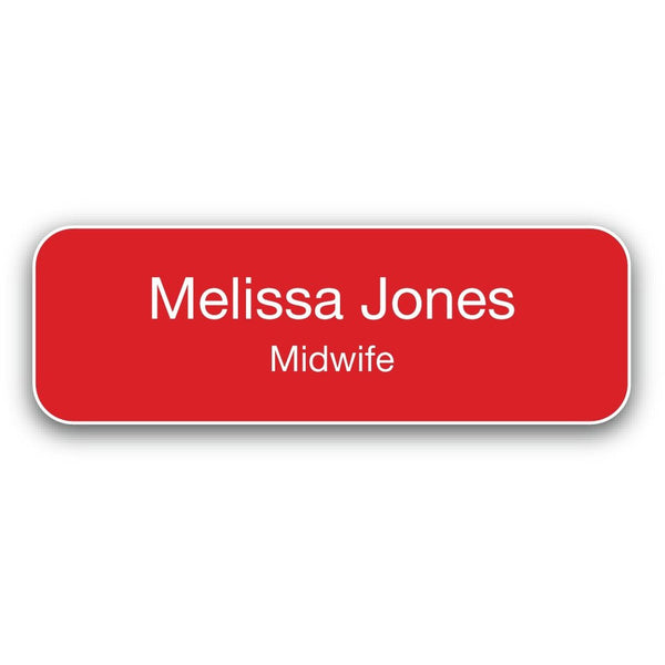 Name Badge - White on Red