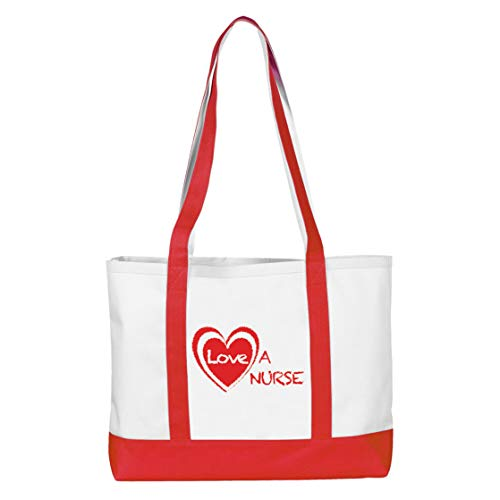 Love a Nurse Large Red Tote Bag for Nurses and Healthcare Professionals