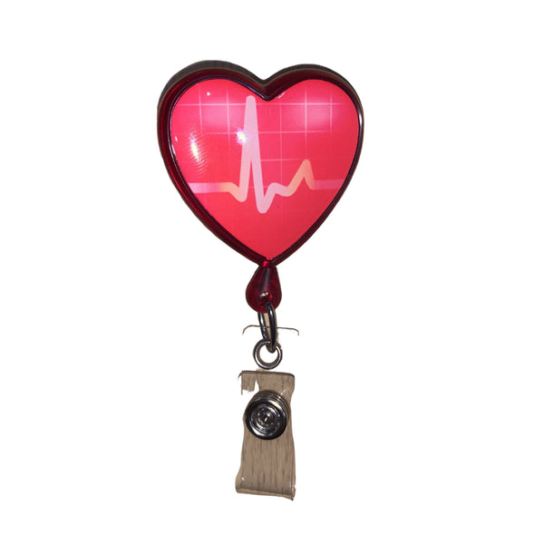 ECG Heart Retractable ID Badge Holder