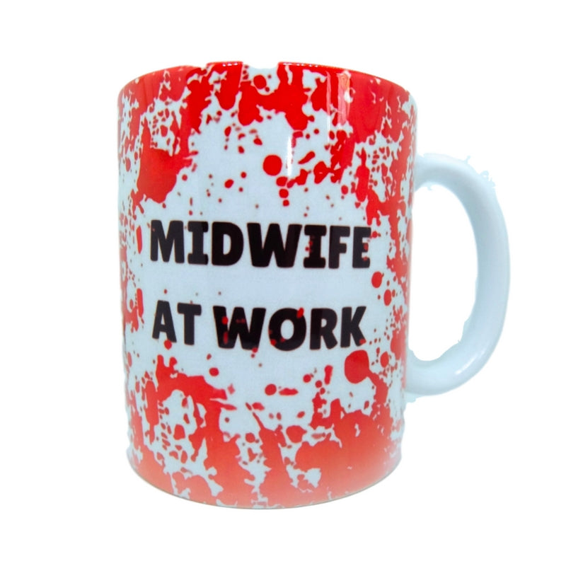 Midwife at Work Blood Splatter Mug