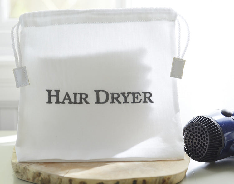 White Hotel Hair Dryer Bag for Vacation Rental The Distinguished Guest