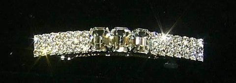 Barrettes 3 Row Rhinestone and Octagon Crystal Barrette - #6446
