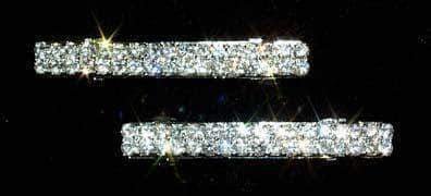 Barrettes Pair of 2 Row Rhinestone Barrettes - #11772