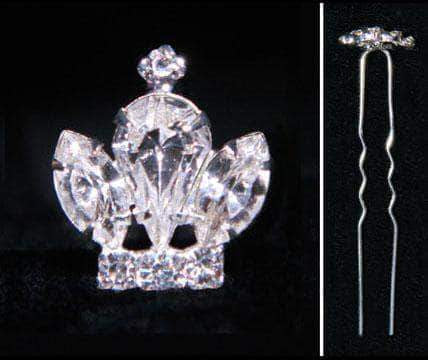 Bobbie and Hair Pins #15859 Mini Rhinestone Crown Hair Pin
