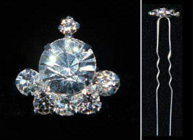 Bobbie and Hair Pins #15860 Mini Domed Top Rhinestone Crown Hair Pin