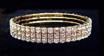 Bracelets #11949XG - 3 Row Stretch Rhinestone Bracelet - All Clear Crystal Gold