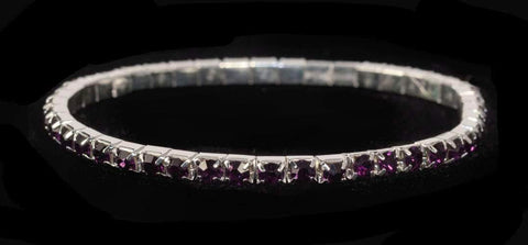 Bracelets #11950 Single Row Stretch Rhinestone Bracelet - Amethyst Crystal  Silver