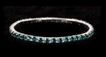 Bracelets #11950 Single Row Stretch Rhinestone Bracelet - Blue Zircon Crystal  Silver