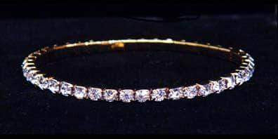 Bracelets #11950 Single Row Stretch Rhinestone Bracelet -  Clear Crystal Gold