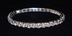Bracelets #11950 Single Row Stretch Rhinestone Bracelet -  Clear Crystal  Silver