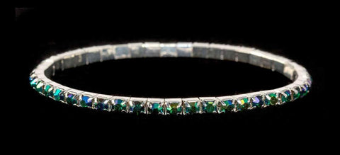 Bracelets #11950 Single Row Stretch Rhinestone Bracelet - Emerald AB Crystal  Silver