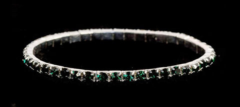 Bracelets #11950 Single Row Stretch Rhinestone Bracelet - Emerald Crystal  Silver
