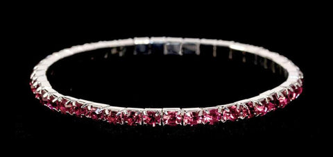 Bracelets #11950 Single Row Stretch Rhinestone Bracelet - Fuchsia Crystal  Silver