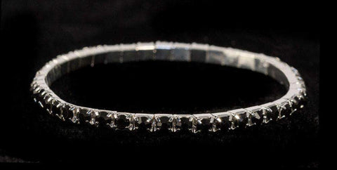 Bracelets #11950 Single Row Stretch Rhinestone Bracelet - Jet Crystal  Silver