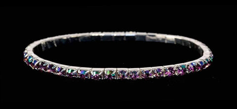 Bracelets #11950 Single Row Stretch Rhinestone Bracelet - Light Amethyst AB Crystal  Silver