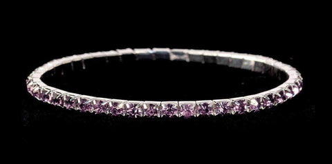 Bracelets #11950 Single Row Stretch Rhinestone Bracelet - Light Amethyst Crystal  Silver