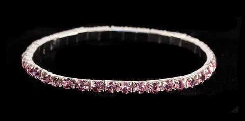 Bracelets #11950 Single Row Stretch Rhinestone Bracelet - Light Rose Crystal  Silver