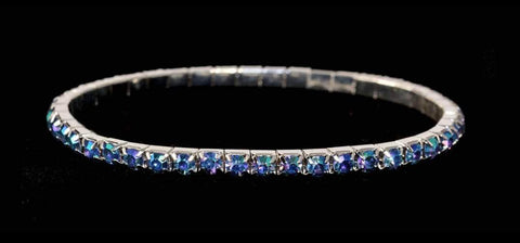 Bracelets #11950 Single Row Stretch Rhinestone Bracelet - Light Sapphire AB Crystal  Silver