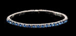 Bracelets #11950 Single Row Stretch Rhinestone Bracelet - Light Sapphire Crystal  Silver