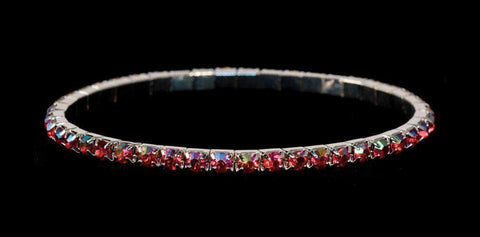 Bracelets #11950 Single Row Stretch Rhinestone Bracelet - Light Siam AB Crystal  Silver