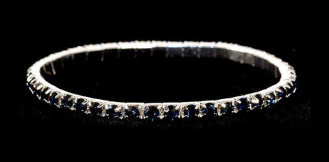 Bracelets #11950 Single Row Stretch Rhinestone Bracelet - Montana Crystal  Silver