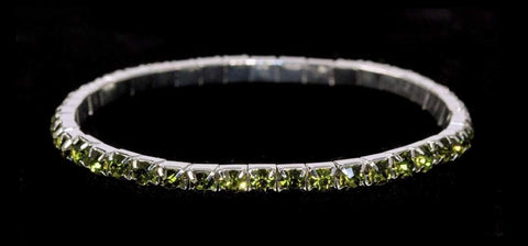 Bracelets #11950 Single Row Stretch Rhinestone Bracelet - Olivine Crystal  Silver