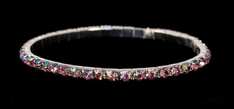 Bracelets #11950 Single Row Stretch Rhinestone Bracelet -  Rose AB Crystal  Silver
