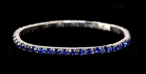 Bracelets #11950 Single Row Stretch Rhinestone Bracelet -  Sapphire Crystal  Silver