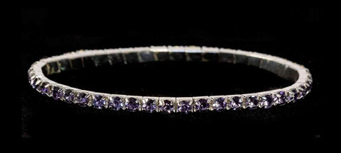 Bracelets #11950 Single Row Stretch Rhinestone Bracelet -  Tanzanite Crystal  Silver