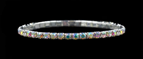 Bracelets #11950ABS Single Row Stretch Rhinestone Bracelet -  (Iridescent Stones) AB  Silver