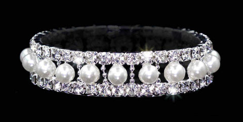Bracelets #14473 - Pearl and Rhinestone Stretch Bracelet - Crystal Silver
